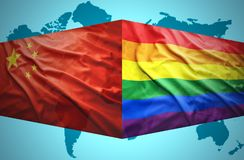 Waving Chinese and Gay flags. Of the political map of the world Royalty Free Stock Images