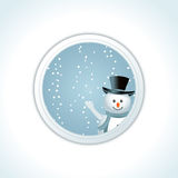 Waving Christmas snowman Stock Image