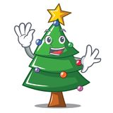 Waving Christmas tree character cartoon. Vector illustration Stock Photography