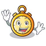 Waving chronometer character cartoon style Royalty Free Stock Images