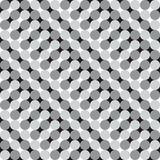 Waving Circles, Black and White Optical Illusion, Vector Seamles. S Pattern Background. Some waving effect appears Stock Photo
