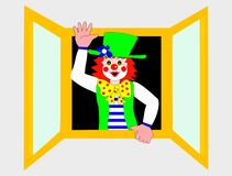 Waving clown. Clown looking out of the window vector illustration