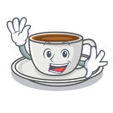 Waving coffee character cartoon style. Vector illustration Stock Image