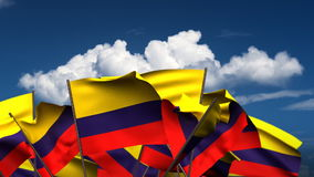 Waving Colombian Flags stock video