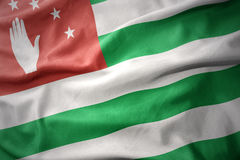 Waving colorful flag of abkhazia. Royalty Free Stock Images