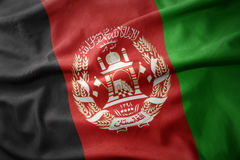 Waving colorful flag of afghanistan. Royalty Free Stock Photo