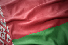 Waving colorful flag of belarus. Stock Images