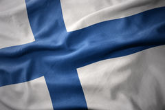 Waving colorful flag of finland. Waving colorful national flag of finland Stock Photography