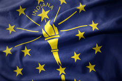 Waving colorful flag of indiana state. Royalty Free Stock Photography