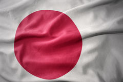 Waving colorful flag of japan. Waving colorful national flag of japan Royalty Free Stock Photos