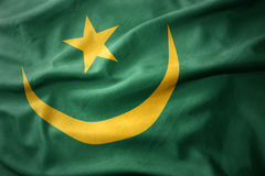 Waving colorful flag of mauritania. Stock Images