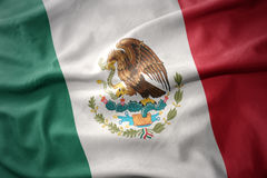 Waving colorful flag of mexico. Stock Photos