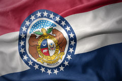 Waving colorful flag of missouri state. Stock Photo