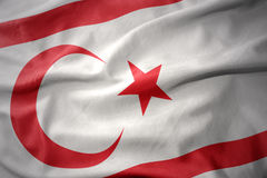 Waving colorful flag of northern cyprus. Stock Photo