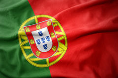 Waving colorful flag of portugal. Stock Photo