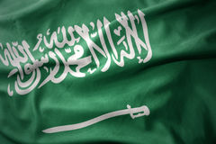 Waving colorful flag of saudi arabia. Royalty Free Stock Image