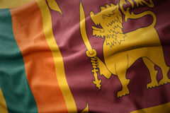 Waving colorful flag of sri lanka. Stock Photos