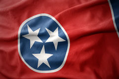 Waving colorful flag of tennessee state. Royalty Free Stock Image