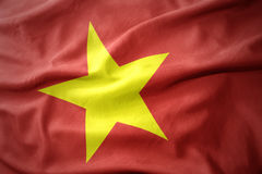 Waving colorful flag of vietnam. Waving colorful national flag of vietnam Royalty Free Stock Images