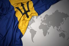Waving colorful national flag of barbados. Royalty Free Stock Images
