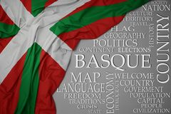 Waving colorful national flag of basque country on a gray background with important words about country. Concept royalty free stock image