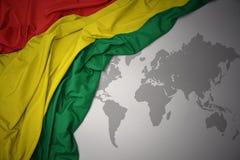 Waving colorful national flag of bolivia. Royalty Free Stock Image