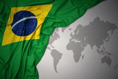 Waving colorful national flag of brazil. Royalty Free Stock Images