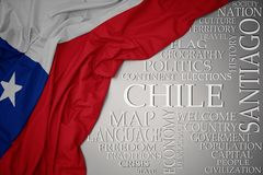 Waving colorful national flag of chile on a gray background with important words about country. Concept royalty free stock photo