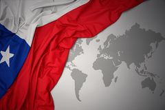 Waving colorful national flag of chile. Royalty Free Stock Photography