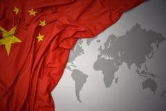 Waving colorful national flag of china. Royalty Free Stock Photography