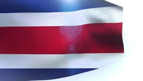 Waving colorful national flag of costa rica blowing in the wind stock footage