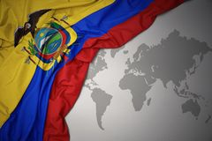 Waving colorful national flag of ecuador. Royalty Free Stock Photography