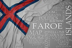 Waving colorful national flag of faroe islands on a gray background with important words about country. Concept stock photos