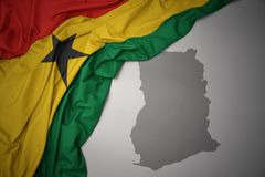 Waving colorful national flag and map of ghana. Vector Illustration