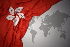 Waving colorful national flag of hong kong. Royalty Free Stock Photos