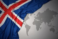 Waving colorful national flag of iceland. Stock Photography