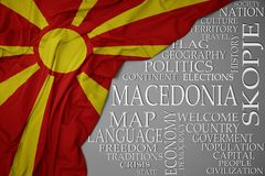 Waving colorful national flag of macedonia on a gray background with important words about country. Concept royalty free stock photo