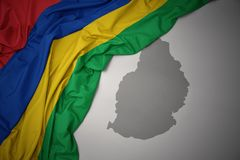 Waving colorful national flag and map of mauritius. Royalty Free Illustration