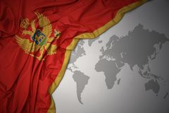 Waving colorful national flag of montenegro. Royalty Free Stock Images