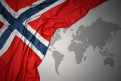 Waving colorful national flag of norway. Royalty Free Stock Image