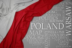 Waving colorful national flag of poland on a gray background with important words about country. Concept royalty free stock photography