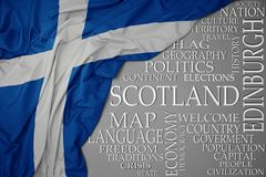 Waving colorful national flag of scotland on a gray background with important words about country. Concept royalty free stock image