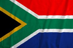 Waving colorful national flag of south africa. royalty free stock photography