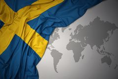 Waving colorful national flag of sweden. Stock Photos