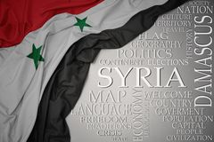 Waving colorful national flag of syria on a gray background with important words about country. Concept royalty free stock photo