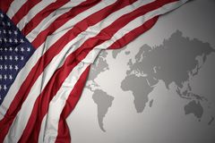 Waving colorful national flag of united states of america. Stock Photography