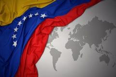 Waving colorful national flag of venezuela. Royalty Free Stock Photography