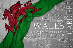 Waving colorful national flag of wales on a gray background with important words about country. Concept royalty free stock photography