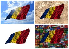Waving colorful Romania flag collage Stock Images