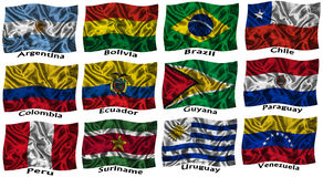 Waving colourful South America flags stock illustration